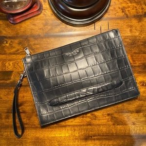 COACH Crocodile Embossed Black Clutch IPad Case